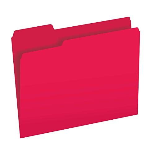 The File King 1/3-Cut Top Tab Red File Folder | Letter Size | Box of 100 | Made in The USA | Assorted Tab Positions | 11-Point Fiber Construction | Organize Home or Office