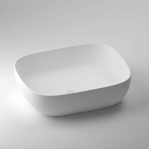 SCHWAN SPA Lavabo de diseño | Lavabo | Lavabo | Esmaltado mineral fundido / mármol fundido | Roma, Blanco Mate | 465 x 372 x 128 mm