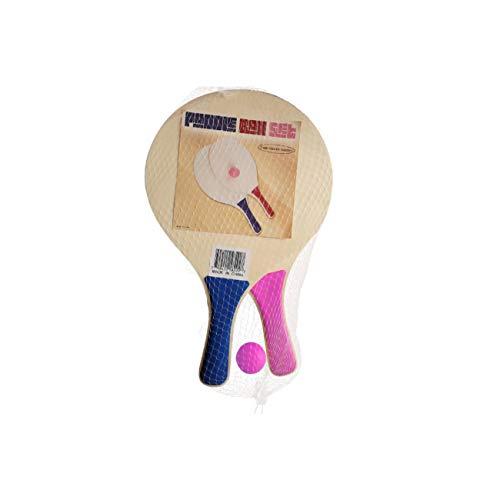 Trademark Innovations Paddle Ball Ballon de Plage Jeu – Lot de 2 pagaies en Bois et Balle (Bleu et Rouge Pagaies)