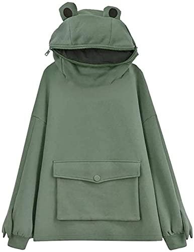 WAQIA women Frog Hoodie Zipper Mouth Hoodie Cute Sweatshirt for Teen Girls Green