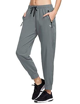 BALEAF Women's Athletic Joggers Dry Fit Running Pants Lightweight Woven Hiking Sun Protection UPF 50+ Zipper Pockets Light Grey M