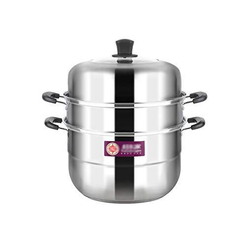Olla de cocción al vapor, acero inoxidable 304, olla de sopa/olla caliente, 3 capas 30/32 cm, hogar/comercial, para cocina de inducción/estufa de gas (5-8 personas) sartén (tamaño: 32 cm)