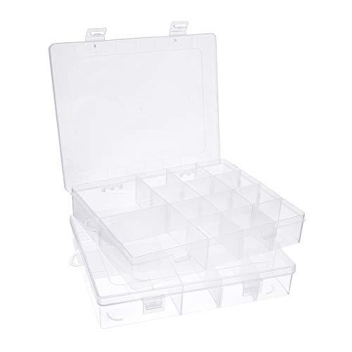 PandaHall 2 Cajas de 14 divisores para Joyas, Organizador Rectangular de Cuentas de plástico Transparente, contenedor de Almacenamiento con divisores Ajustables para Cuentas, Joyas, Arte de uñas