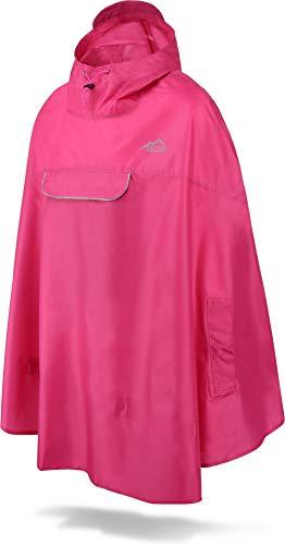 normani Unisex Regenponcho - Wind und Wasserdicht mit Bauchtasche, 3M Refelktoren und seitlichen Eingriffen Farbe Pink Größe L