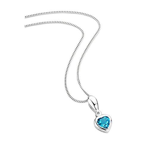 Orovi Schmuck Damen 0.01 Ct Diamant Halskette mit herz Anhänger Edelstein/Geburtsstein Topas in blau und solitär Diamant Brillant Kette aus Weißgold 9 Karat / 375 Gold, länge 45 cm