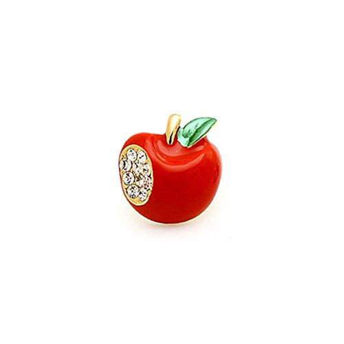Fajewellery Damen Mädchen Rot Apfel/Champagner Herz Brosche