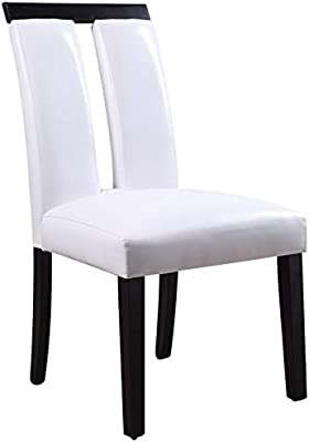 Acme Bernice Side Chair (Set of 2) in White PU and Black