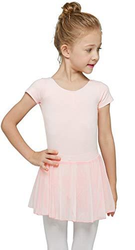 MdnMd Dance Ballet Leotard for Toddler Girls Classic Short Sleeve Tutu Skirt (Ballet Pink, Age 2-4 / 2t,3t)