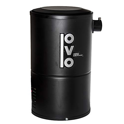 OVO Compact Central Vacuum System For Apartments Condos & Small Homes - Small & Quiet Central Vac Unit - 550 Airwatts Power Unit - OVO-550ST-18B