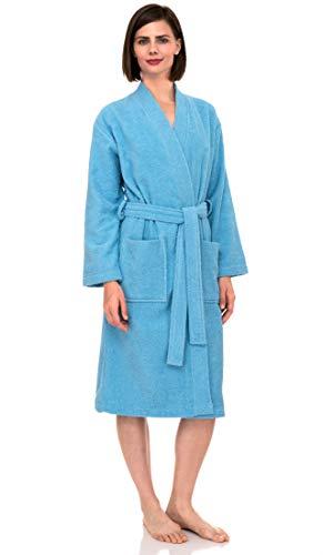 TowelSelections Women's Robe Turkish Cotton Terry Kimono Bathrobe Small/Medium Blue Grotto