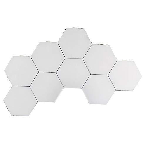 ZYLZL Lámpara LED de pared inteligente cuántica con sensor táctil hexagonal magnético empalme de luz nocturna para dormitorio, habitación, decoración de creatividad, ajustable, color blanco / 9 piezas