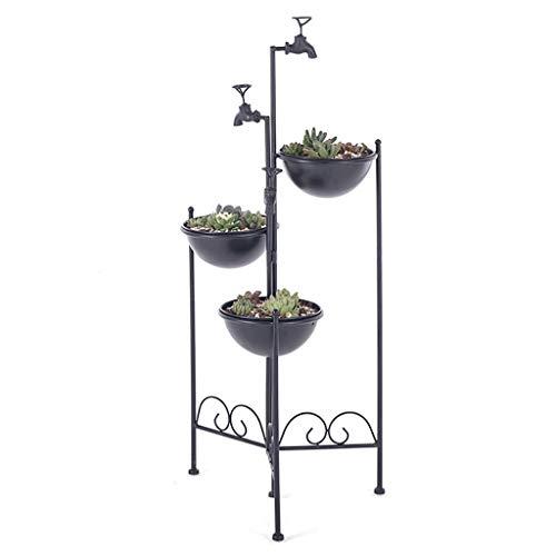 MKKM Soporte de la Planta Planta de Grifo Hierro Del Estilo de la Flor Negro Soporte de Exhibición de Estilo Retro, Estilo Industrial Simple Y Elegante Diseño para Su Cubierta Exterior de la Sala Mul