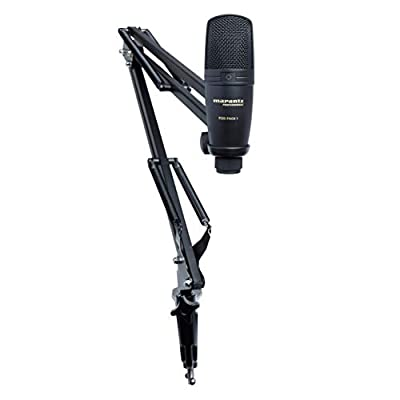 Marantz Pro Pod Pack 1 - Complete Podcast Kit - USB Condenser Studio Microphone, Audio Interface, Fully-Adjustable Broadcast Stand and USB Cable