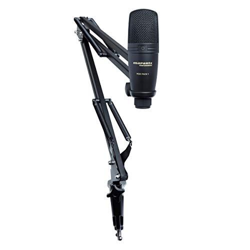 Marantz Professional Pod Pack 1 - Kit de Podcasting Completo con Micrófono de Condensador USB Profesional, Soporte de Brazo Articulado Totalmente Ajustable y Cable USB
