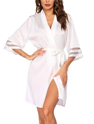 Balancora V-Ausschnitt Robe Damen 3/4 Ärmel Bademantel Kimono Saunamantel Kurz Satin Negligee