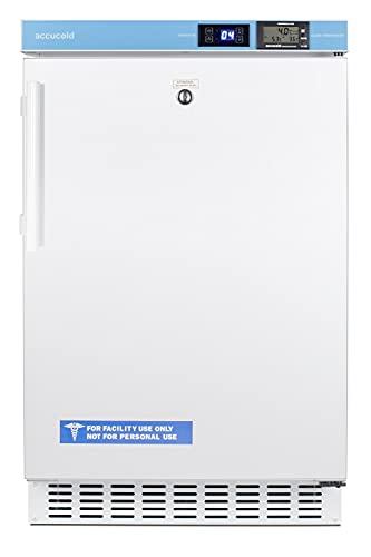 Summit ACR45L 20 Inch Freestanding or Built-In Counter Depth Compact Refrigerator with 2.65 cu. ft. Capacity Slim 20` Width, High-Temperature Alarm in White