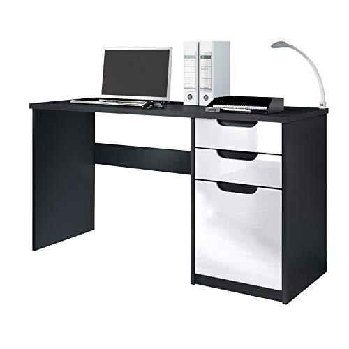 Escritorio Mesa para computadora Mueble de Oficina Logan, Cuerpo en Negro Mate/frentes en Blanco de...