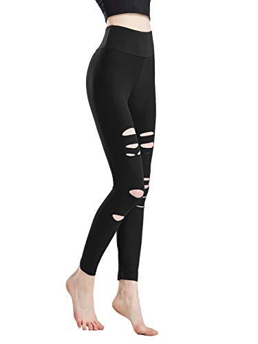 Larora Womens High Waist Leggings Cutout Ripped Tummy Control Workout Running Yoga Pants (Black, Medium)