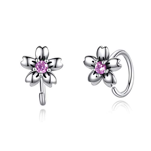 Pendientes de flor de plata de ley con diseño de aro Huggie con circonitas cúbicas hipoalergénicas para mujer