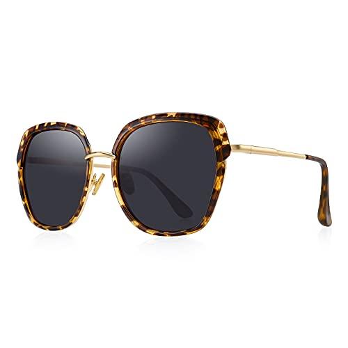 OLIEYE Vintage Oversized Shield Frame Women's Polarized Sunglasses Holiday Sunglasses for Women with Gift Box O6371