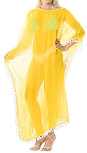 LA LEELA Mujeres caftán Gasa túnica Sólido Plain Kimono Libre tamaño Largo Maxi Vestido de Fiesta para Loungewear Vacaciones Ropa de Dormir Playa Todos los días Cubrir Vestidos Amarillo_B522