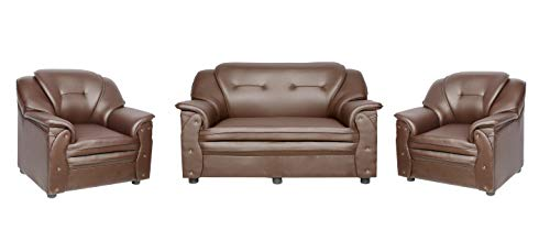 Sekar Lifestyle 2+1+1 Seater Brown Polyurethane Sofa Set for Living Room (Medium)