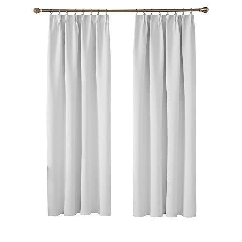 Deconovo Gardinen Blickdicht Vorhang Verdunkelungsvorhänge mit Kräuselband 220x140 cm Grau Weiß 2er Set