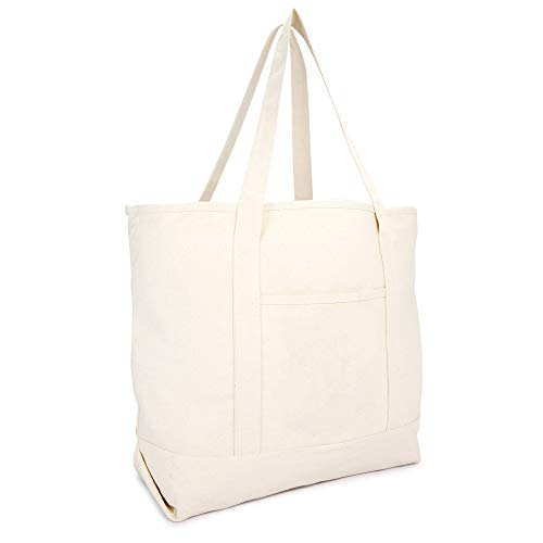 22' Heavy Duty Deluxe Tote Bag with Outer Pocket (Natural)