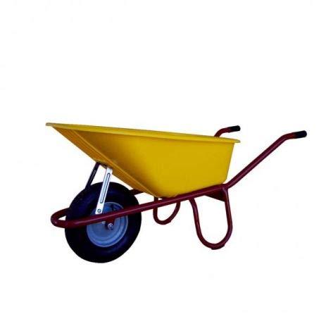 Professionele bouwkruiwagen Allcar100 PP I kruiwagen met luchtwiel, kunststof handgrepen & kantelbeugel I 100 liter PP-diepe opening