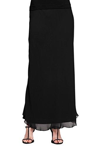 Alex Evenings Women's Petite Assorted Long Skirt, Black Chiffon a, LP