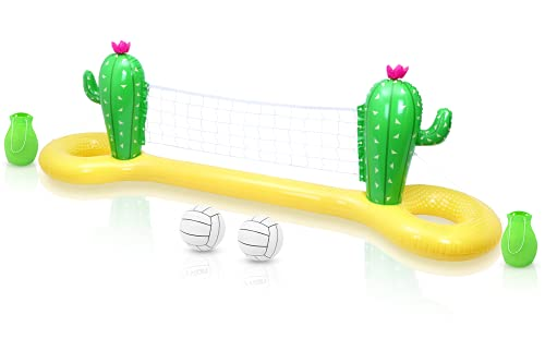 Gadpiparty Pool-Volleyball-Set Aufblasbares Kaktus-Schwimm-Volleyballnetz für Den Pool Pool-Float-Volleyballnetz für Die Sommerparty ( 300X70x100cm )