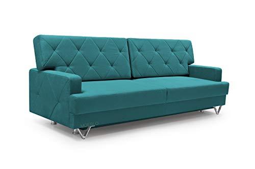 mb-moebel Schlafsofa Kippsofa Sofa mit Schlaffunktion Klappsofa Bettfunktion mit Bettkasten Couchgarnitur Couch Sofagarnitur - VITON (Turkis)