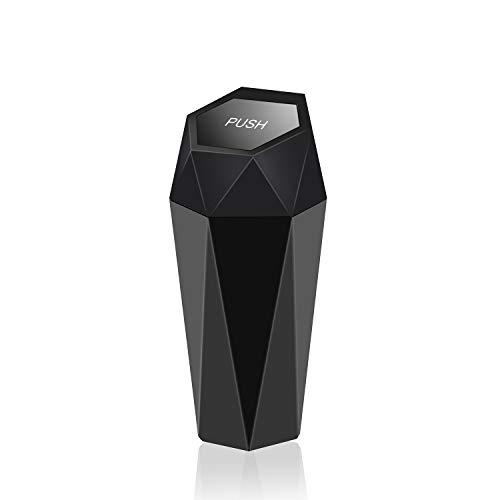 OUDEW Car Trash Can with Lid, New Car Dustbin Diamond Design, Leakproof Vehicle Trash Bin, Mini Garbage Bin for Automotive Car, Home, Office, Kitchen, Bedroom, 1PCS (Black)