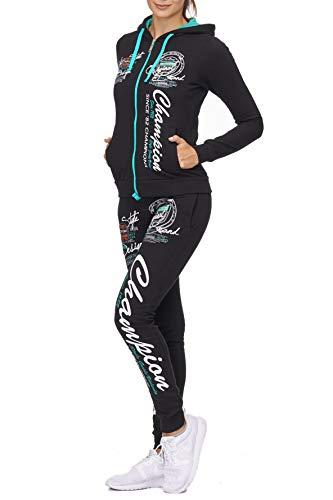 Damen Jogginganzug Champion 673 (M-fällt größer aus, Schwarz-Mint)