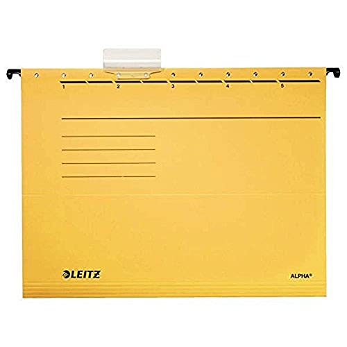 Esselte Leitz Alpha 19853015 Suspension File Coloured Card Pack of 5 Yellow