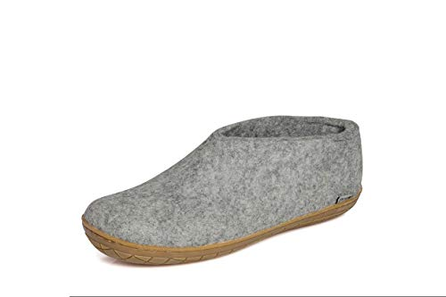 glerups dk Unisex - Erwachsene Filz-Hausschuh AR, Damen,Herren Hausschuh,Huettenschuh, Schafwolle, rutschfeste Gummisohle Grau (Grey), 39 EU / 6 UK