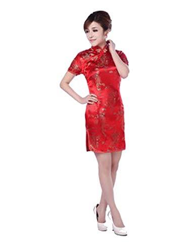 Vestidos de estilo oriental chino rojo chino Qipao estilo chino vestido moderno cheongsam, Rojo, L