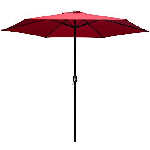 Abba Patio 9 Ft Fade Resistant Sunbrella Patio Umbrella with Auto Tilt and Crank, Alu. 8 Ribs, Red