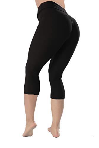QYQ High Waisted Leggings -10+Colors -Soft Slim Pants for Women w Hidden Inner Pocket, Reg&Plus Size (Black Capri, Ext Plus)