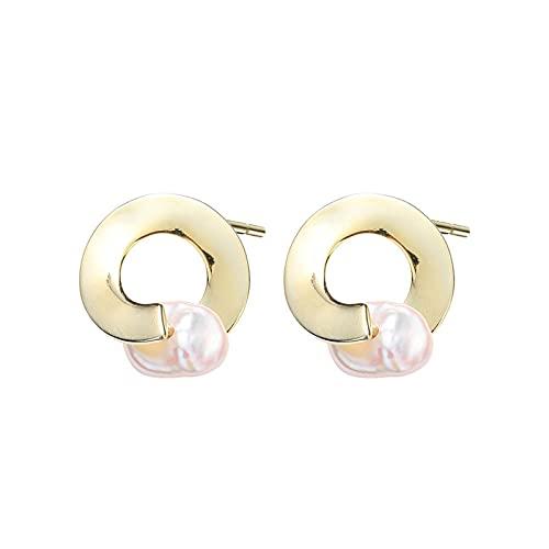 1 pieza de pendientes para mujer irregulares en forma de tuerca y accesorios de perlas