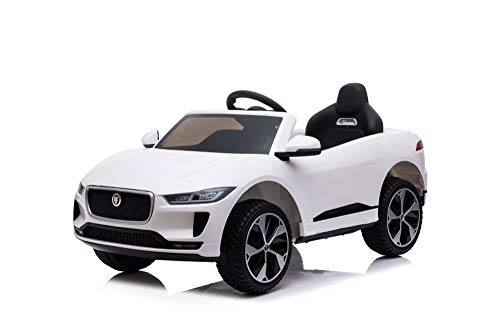 Jaguar i-Pace Licensed Battery Powered Kids Electric Ride On Toy Car with Parental Remote Control LED Lights and Music (WHITE)