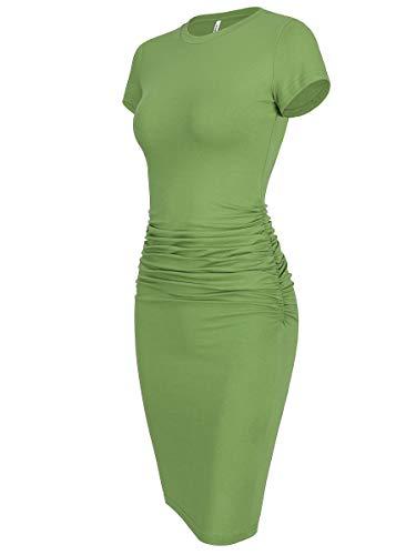 Laughido Women's Ruched Casual Plain Sundress Short Sleeve Knee Length Sheath Bodycon T Shirt Dress Light Green