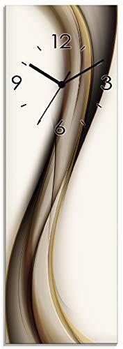Artland Wanduhr ohne Tickgeräusche aus Glas Quarzuhr 20x60 cm Rechteckig Lautlos Abstrakte Kunst Design Welle Abstrakt Modern Ausgefallen T9LH