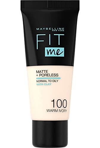Maybelline New York, Base de Maquillaje que Calca a tu Tono Fit me! Mate y Afinaporos, Color: 100 Warm Ivory