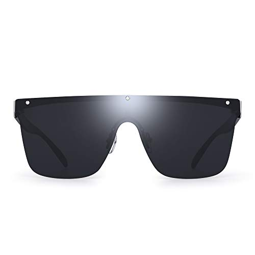 JIM HALO Sin Marco Montura Proteger Gafas de Sol Una Pieza Plano Top Espejo Anteojos Hombre Mujer(Marco Plateado/Lente Gris)