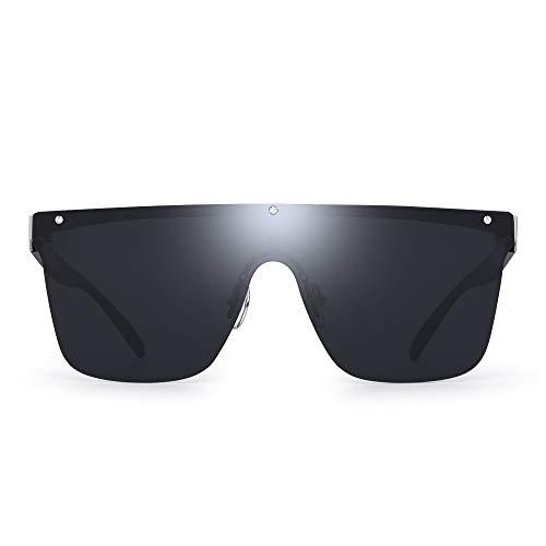 JIM HALO Randlos Schild Sonnenbrillen Ein Stück Flach Top Spiegeln Brillen Damen Herren(Silberrahmen/Graue Linse)