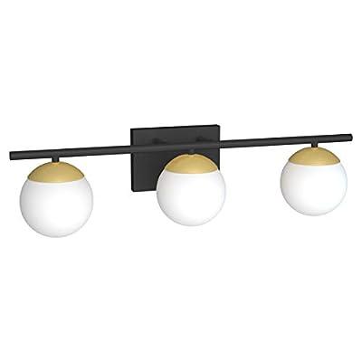 Ralbay Bathroom Vanity Lighting 3-Lights Black/Gold with Milk White Glass Globe Modern Industrial Bathroom Vanity Light Fixtures for Bathroom (Exclude Bulb)