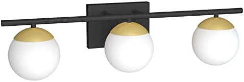 Ralbay Bathroom Vanity Lighting 3 Lights Black Gold with Milk White Glass Globe Modern Industrial product image