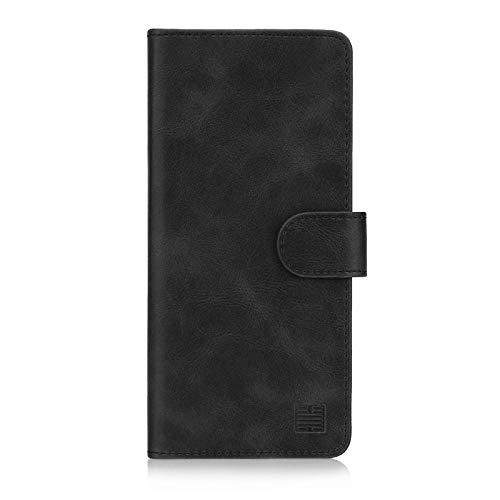 32nd Essential Series - PU Leder Mappen Hülle Flip Hülle Cover für Sony Xperia 1 (2019), Ledertasche hüllen mit Magnetverschluss & Kartensteckplatz - Schwarz