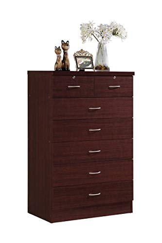 Hodedah HI70DR Mahogany Chest of Drawers with Locks